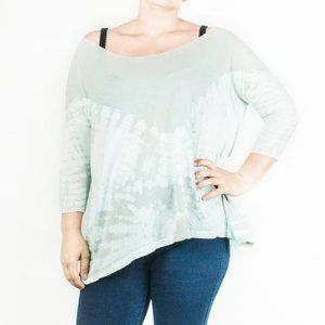 Free People Tie Dye Blue Grey Flowy Loose Top